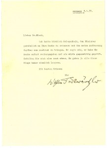 Wilhelm Furtwängler to Ludwig Misch