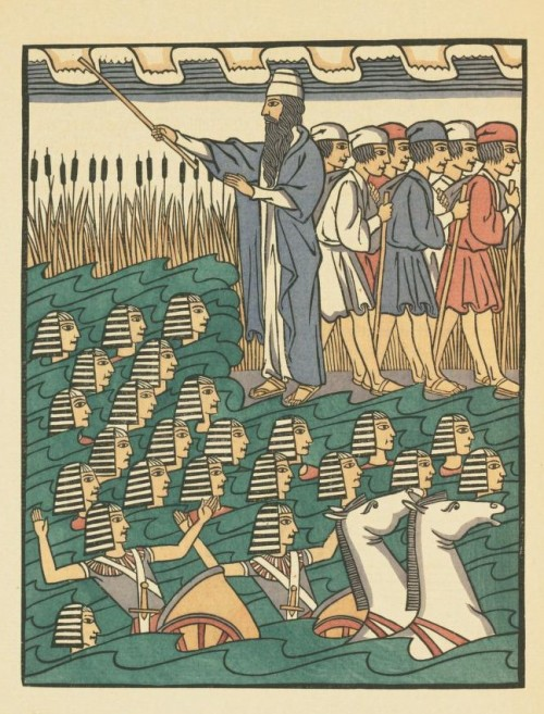 Fritz Kredel's illustration of Pharoah's army in the Red Sea.  The Offenbacher Haggadah, Published by Dr. Siegfried Guggenheim, Offenbach am Main, 1927