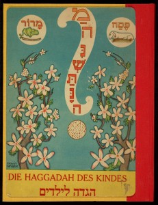 "AM Silbermann and Emil Bernhard Cohn edited this ""Children's Haggadah"" in Berlin in 1933. Intended to involve children in the seder, it features ""moving picture"" illustrations by Erwin Singer. Children are invited to ""pull slowly"" on tabs connected to inserts in the illustrations, which move to reveal hidden elements of the pictures. The book also contains songs by the composer Arno Nadel (who served as Choir Director of the Jewish Community in Berlin) and other contemporary artists."