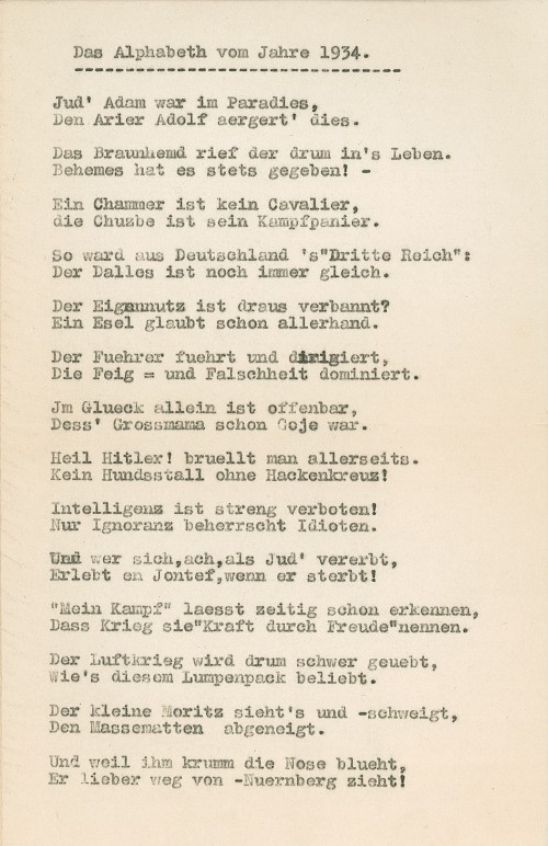 "Among the poetry in the Oppenheimer collection is this satirical poem titled ""The ABCs of 1934,"" which skewers the Nazi regime with a rhyming couplet for each letter of the alphabet."