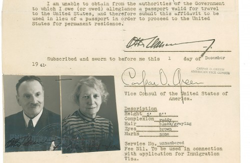Otto and Emma Oppenheimer emigrated to the US via Switzerland and Havana, where they submitted this affidavit the US consulate in connection with a visa application on Dec. 1, 1941.