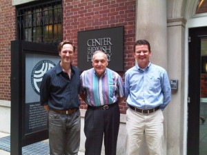 The author (l.) with Harry Ettlinger (c.) and Jochen Wolf at the Center for Jewish History, August 2010. Courtesy Jochen Wolf.