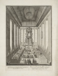 Interior view of the Alte Synagoge in Berlin, engraving by A.B. Goblin based on a drawing by Anna M. Werner. Berlin, 1720.
