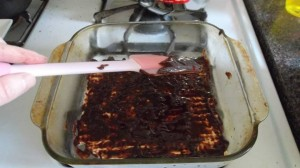 The chocolate mixture is applied to layers of matzo.