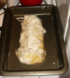 "We ""swaddled"" the strudel with a bit less pastry dough than necessary."