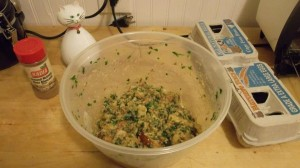 Like most of Gumprich's recipes for chicken, the stuffing is seasoned by nutmeg, parsley, shallots, salt, and pepper.