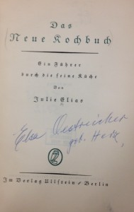 "The title page of Elias' ""Neue Kochbuch"" with the signature of Elsa Oestreicher."