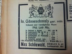 Many of Gumprich's recipes do specify the use of goose fat, advertised here in the General-Anzeiger für die gesamten Interessen des Judentums