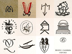Some of the distinctive logos of German exile publishers : Row 1 (l-r) Europäischer  Merkur, Paris; El Libro Libre, Mexico City; Humanitas, Zürich; Tarshish, Jerusalem;  Row 2 (l-r) Eugen Prager, Prague/Bratislava; Alliance Book Corporation, New York;  Malik, Prague/London; Pantheon, New York; Row 3 (l-r) Querido, Amsterdam/ Jakarta; Aurora Verlag, New York; Bermann-Fischer, Vienna/Stockholm; Bruno  Cassirer, Oxford.