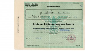 An Abstammungsnachweis (certificate of pedigree) for Eva Christine Schiller (b. 1929), classifying her as a Mischling. The reverse includes details about her birth parents and grandparents as well as the date of her baptism. Eva C. Schiller Janusauskas Collection, AR 25298