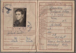 "This Wehrpass (military registration document) for Gerhard Baader, classified as a Mischling, includes the annotation ""n.z.V"", which meant he was not to be deployed for active duty. Private Archive of Gerhard Baader"