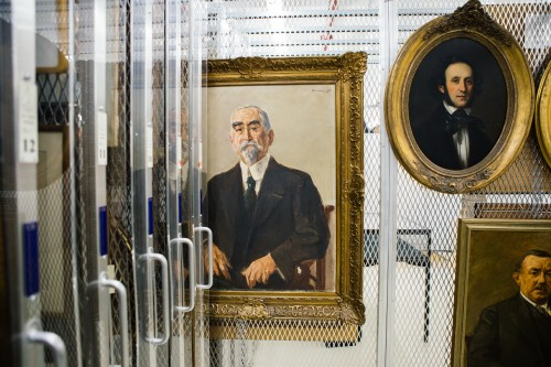 Works by Eduard Magnes, Max Liebermann , and others in LBI's storage facility at the Center for Jewish History in Manhattan. Photo: Jon Pack.