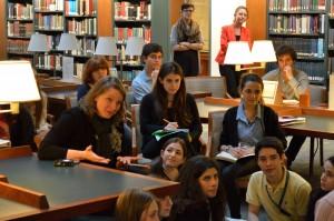 Theater teacher Sarah Cusick of Columbia Grammar and Preparatory school (l) asks a question of Miriam Merzbacher.