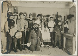 Soldiers in costume for a theater performance during WWI