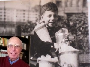 Gerald Westheimer on his first day of school in Berlin at the age of six and at his home in Berkeley, California in 2015.