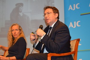 Rebecca Wittmann (University of Toronto) and Christoph Safferling (University of Marburg) discuss the role of former Nazis in Germany's post-war Justice Ministry at the Center for Jewish History on November 14, 2014.