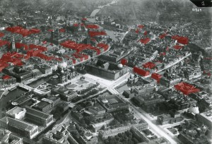 An aerial photograph of Berlin in 1925 highlighting Jewish-owned properties.