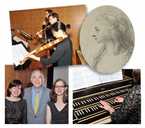 Clockwise from top left: Musicians perform a work by J.S. Bach that was preserved in the archive of Sara Levy; an engraving by Anton Graff , probably of Sara Levy; Rebecca Cypess at the harpsichord; (l-r) Cypess, Christoph Wolff , and Nancy Sinkoff Photos by Philip Maier.