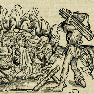 Michael Wolgemut, The Burning of the Jews during the Time of the Plague (Schedels Weltchronik), woodcut, 1493