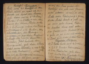 One of the handwritten pages of the original book features a recipe for a Kartoffel-Heringspeise, a meal with potatos and herring.