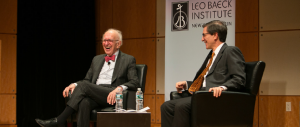 Ethan Bronner, Managing Editor for International News at Bloomberg (r), interviews Eric Kandel in the Forchheimer Auditorium at the Center for Jewish History.