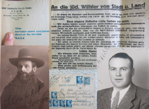 Clockwise from upper left: Letterhead from Circle of Jewish Intellectuals in Romania addressed to the Association for the Support of Jews from Bukovina; Bukovina election sheets from the immediate pre-war years; Moise Farkas, lumber specialist in the Saxon town of Sch äßburg/Sighisoara; Postcard addressed to the Association of Jews Deported to Transnistria; Rabbi of Straßburg am Mieresch/Aiud, Transylvania (Saxon town), 1943, from a wartime application to be exempt from forced labor.