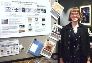 Lauren Paustian presents her poster on a newspaper preservation project of the LBI at a joint conference of the Art Libraries Society of North America and the Visual Resource Association in Seattle, Washington. (c) Thomas Krueger