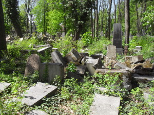 Dilapidated grave memorials in the Jewish cemetery in Währing. (c) Tim Corbett