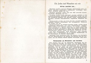 One of the booklets is addressed to fellow Germans, educating about and appealing to them to stop persecution of Jews.