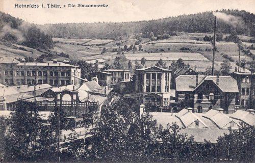 Die Simson-Werke auf einer Postkarte um 1920. (Postkartensammlung Stadtarchiv Suhl)