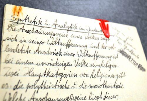 """Manuskript des Vortrags """"Synthetik und Analytik im Judentum"""", den Jonas 1920 im Jüdischen Jugendverein Mönchengladbach hielt."""