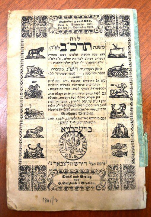 Ein Kalender mit Sternzeichen fuer das Jahr 1861–62. Der Kalender wurde von der Druckerei Sulzbach in Breslau produziert.