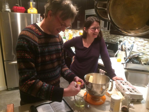 We talked about how in a kitchen of the time, the egg whites would then have been used to make something immediately following, so they weren't wasted. We also used them to make a second item.